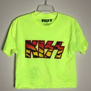 KISS Logo Cropped Band Graphic Tee Tiger Print